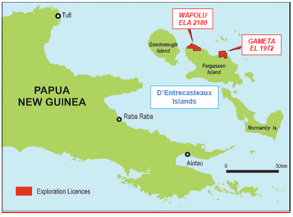 island group of milne bay province papua new guinea the gameta deposit lies within el 1972 it is located on the northeast coast of fergusson island
